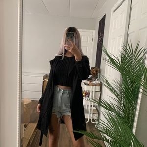 F21 BLACK DUSTER TRENCH COAT